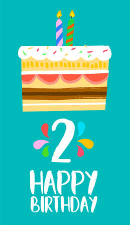 second birthday: Happy birthday number 2, greeting card for two year in fun art style with cake and candles.