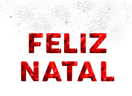 red sky: Merry Christmas red holiday typography illustration design, portuguese language decoration on fireworks sky.