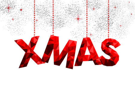 red sky: Merry Christmas red holiday typography illustration design, low poly decoration on fireworks sky.