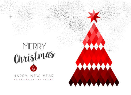 pine decoration: Red Merry Christmas design, xmas pine tree decoration in low poly style on sky fireworks background.