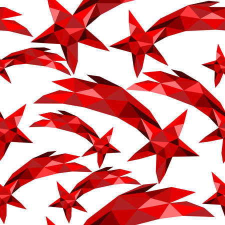red star: Shooting star seamless pattern in red low poly style.