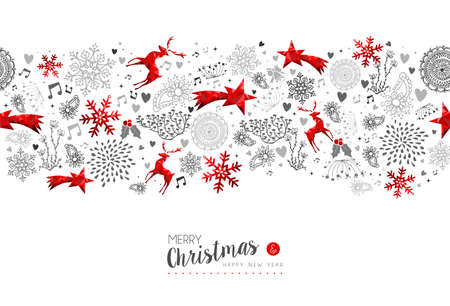 Merry Christmas and Happy New Year red low poly pattern decoration with deer, nature and holiday ornaments.