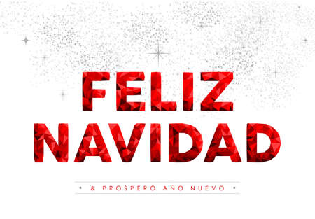 red sky: Merry Christmas and New Year red holiday typography illustration design, spanish language decoration on fireworks sky.