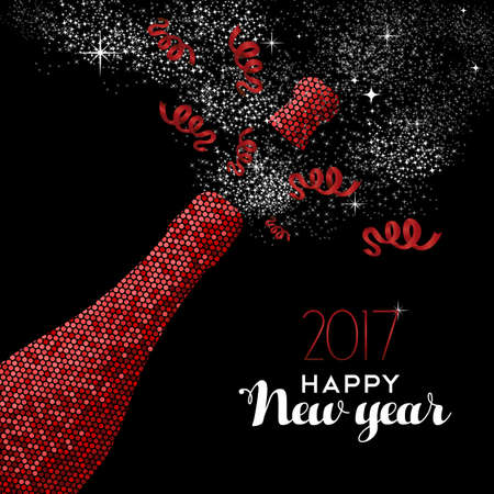 champagne: Happy New Year 2017 luxury red champagne bottle celebration in mosaic style.