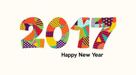 Happy New Year 2017 conception de carte de voeux, citation de vacances avec des couleurs vibrantes amusantes en formes géométriques.