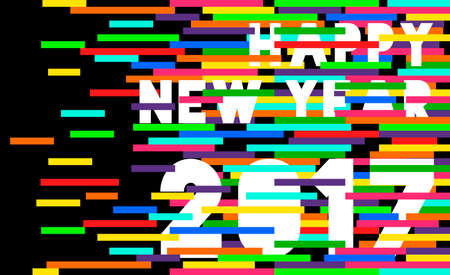 happy new year text: Happy New Year 2017 typography illustration design with colorful vibrant shapes as tv static glitch.