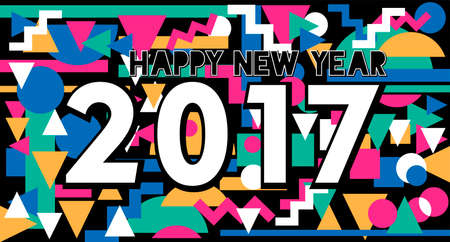 eighties: Happy New Year 2017 typography design, holiday quote on memphis style colorful retro background. Illustration