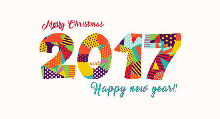 vibrant colors fun: Happy New Year 2017 greeting card design, holiday quote with fun vibrant colors made of geometric shapes.