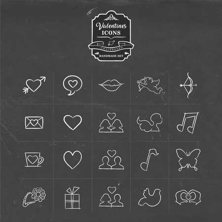 love couples: Valentines day hand drawn chalkboard icon set of hand made outline symbols for love holidays. Includes heart shape, diversity couples, kiss and more over texture chalkboard background. EPS10 vector.