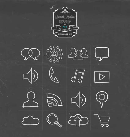 internet phone: Social media hand drawn chalkboard icon collection, set of internet networking symbols. Includes wifi, music, phone, online shopping and more. EPS10 vector. Illustration