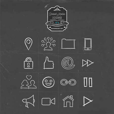 internet phone: Social media hand drawn chalkboard icon collection, set of internet networking symbols. Includes phone, emoji, online dating and more. EPS10 vector. Illustration