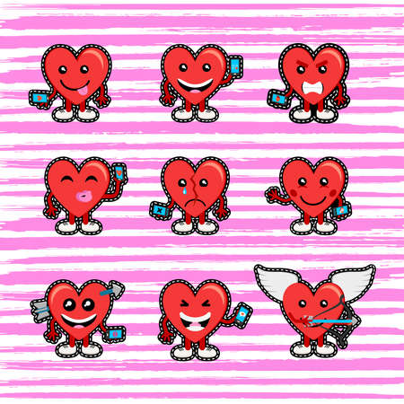 Happy valentines day set of social media emoji hearts in stitch patch style. Mood concepts for online dating, love and more. EPS10 vector. Illustration