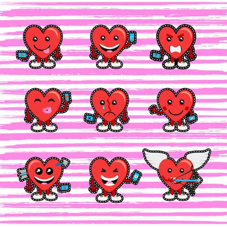 dating and romance: Set of social media hearts in stitch patch style for Valentines Day.