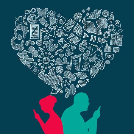 Elder internet social media love concept illustration. Senior couple on phone with hand drawn icons in heart shape. EPS10 vector.