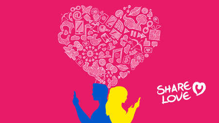 smart woman: Internet mobile connection social media heterosexual love concept illustration. Young man and woman couple on smart phone with hand drawn icons in heart shape. EPS10 vector. Illustration
