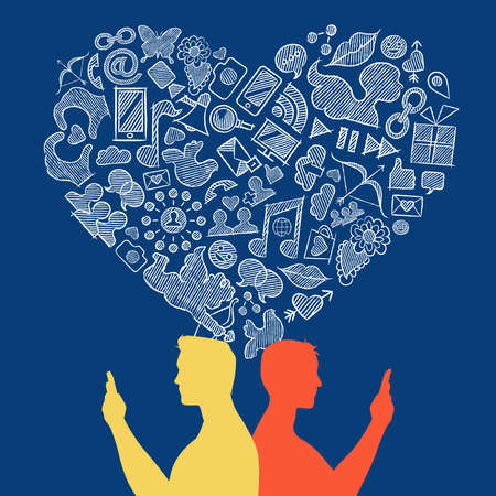 Internet gay social media love concept illustration. Two men couple on mobile with hand drawn icons in heart shape. EPS10 vector.