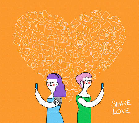 happy couple: Online love share concept illustration. Hand drawn retro young women couple characters meeting on mobiles with outline icons in heart shape over grainy textured background. EPS10 vector. Illustration