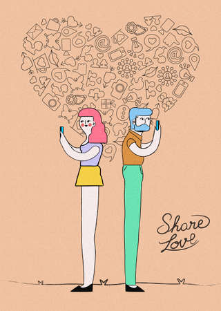 love shape: Social media love hand drawn concept illustration. Modern young hipster couple using mobiles with outline icon heart shape composition on grainy textured background. EPS10 vector.