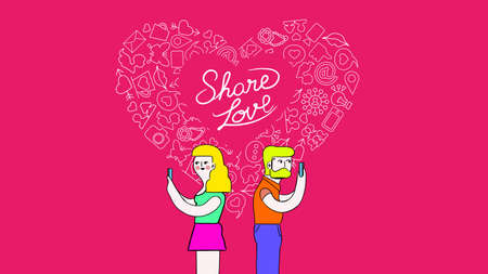 Social media love vibrant colors palette concept illustration. Young man and woman on smart phone with outline icons in heart shape cover size background. EPS10 vector.