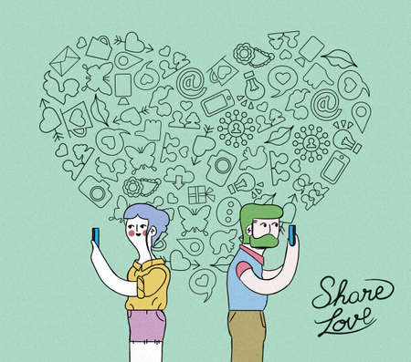 smart woman: Social media love concept illustration. Young man and woman on smart phone with outline icons in heart shape over grainy textured background. EPS10 vector.