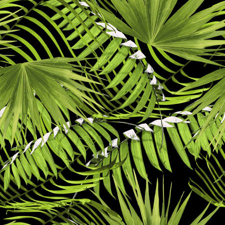 island: Tropical seamless pattern print with green palm tree leaves, exotic summer nature decoration.