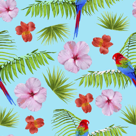 leaf: Tropical seamless pattern print with exotic summer nature decoration. Includes hibiscus flowers, colorful birds and palm leaves.