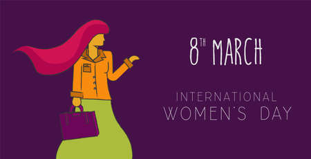 sketch: Happy international 8 march womens day concept background. Independent business modern woman in hand drawn illustration style. EPS 10 vector.
