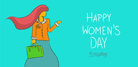 happy business woman: Happy womens day everyday concept background. Independent business modern woman in hand drawn illustration style. EPS 10 vector.