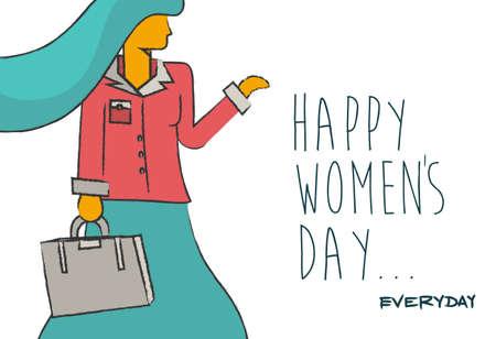 internationale des femmes heureux jour fond concept tous les jours. femme moderne d'affaires indépendant dans le style illustration tirée de la main avec citation. EPS 10 vecteur.