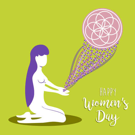 Happy international 8 march womens day illustration of woman in harmony and balance. Yoga meditation concept design. EPS10 vector.