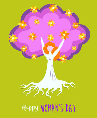 Happy international 8 march womens day illustration of woman as floral spring tree. Mother nature concept design, environment care. EPS10 vector.