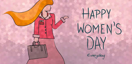 happy business woman: Happy international womens day everyday concept background. Independent business modern woman in sketch illustration style. EPS 10 vector.