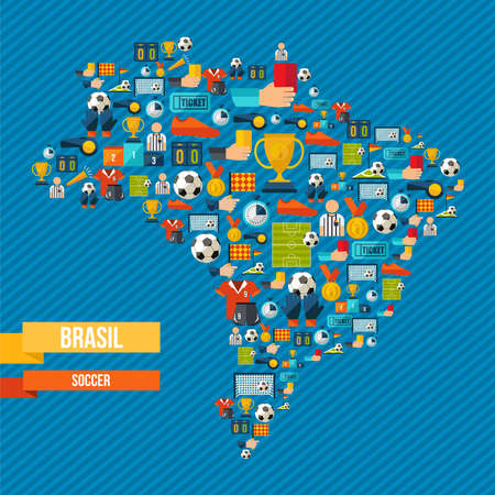 Brazil soccer culture icons in country map. Includes sport elements for football game, ball, shoes, champion cup and more. EPS10 vector.