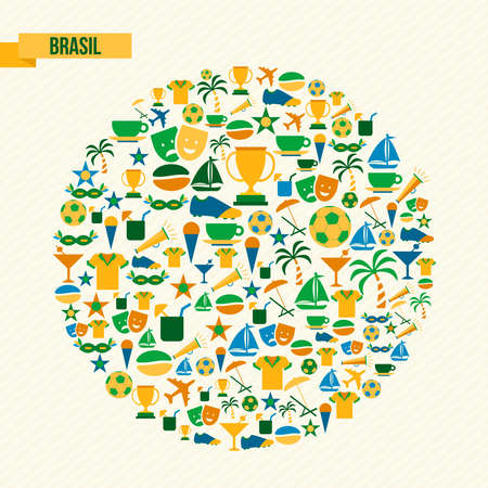 traditional culture: Brazil culture icons in traditional country colors. Includes sport elements for football game, carnival and Rio beach decoration. EPS10 vector.