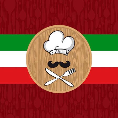 restaurante italiano: Ilustración italiana tradicional del cocinero con los cubiertos de la cocina para el menú del restaurante o la decoración. EPS10 vector.