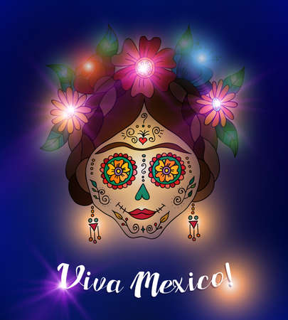Mexico day of the dead illustration, traditional painted skull with flower decoration. EPS10 vector.