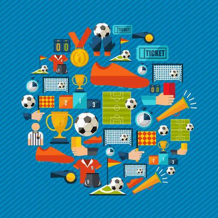Soccer culture icon set.