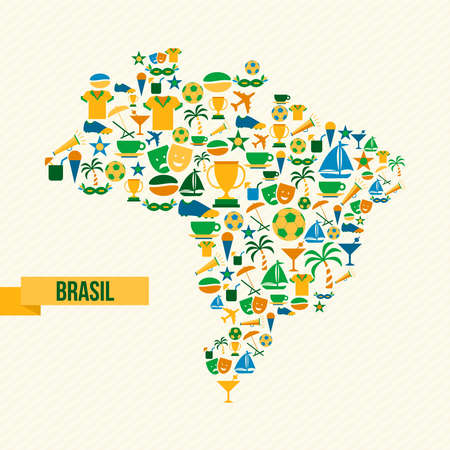 country: Brazil culture icons in country map shape. Includes sport elements for football game, carnival and Rio beach decoration. EPS10 vector. Illustration
