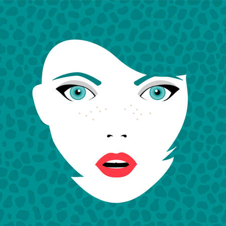 make up face: Young beautiful woman face with open mouth in fashion make up and hairstyle over art background. Eps10 vector. Illustration