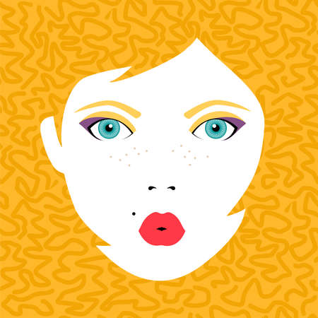make up face: Young beautiful woman face with open eyes, fashion make up and hairstyle on color background. Eps10 vector.