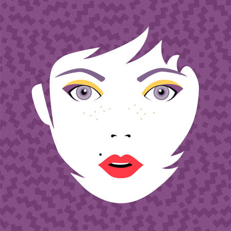 make up face: Young beautiful woman face with open eyes, fashion make up and hairstyle on retro  background. Eps10 vector.