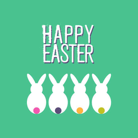pascuas navideÑas: Fun happy Easter greeting card design of white rabbits and quote for holiday celebration. EPS10 vector.