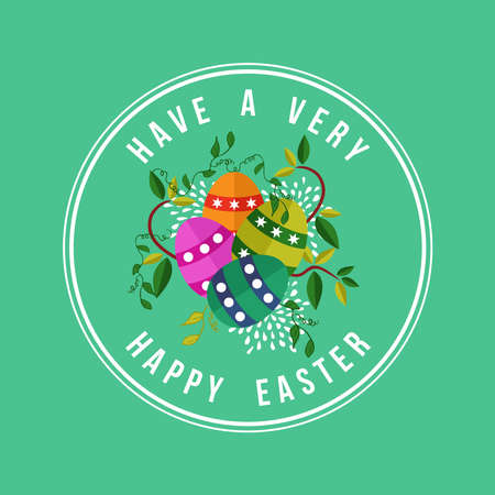 Have a very happy Easter greeting card design with festive spring nature decoration and colorful eggs. EPS10 vector. Çizim