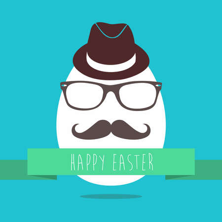 Funny Easter greeting card design of hipster egg with glasses and mustache for holiday celebration. EPS10 vector.