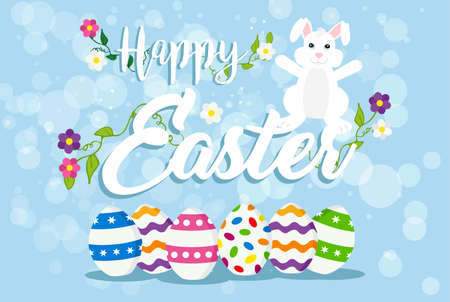 Happy Easter holiday design with white rabbit, painted eggs and spring decoration. EPS10 vector.