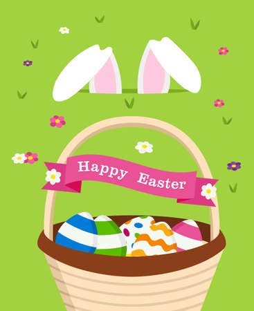 Happy Easter holiday celebration design with egg basket and white rabbit ears on spring time. EPS10 vector. Illustration