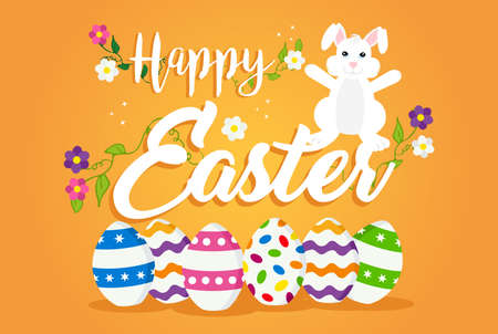 Easter holiday greeting card with happy rabbit, painted eggs and spring decoration. EPS10 vector.