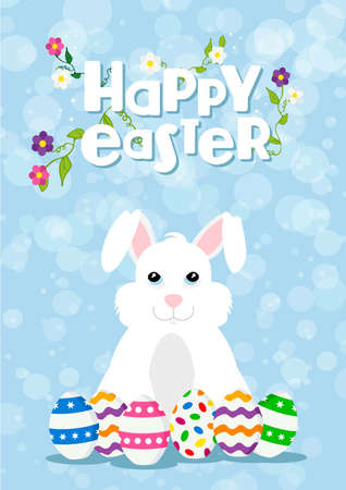 Happy Easter card illustration of rabbit with egg collection. Holiday celebration design and spring decoration. EPS10 vector. Illustration