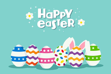festive background: Happy Easter holiday celebration design with traditional painted eggs and white rabbit ears on spring time. EPS10 vector.