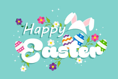 Happy Easter holiday design with eggs, rabbit ears and spring decoration. EPS10 vector. Illustration